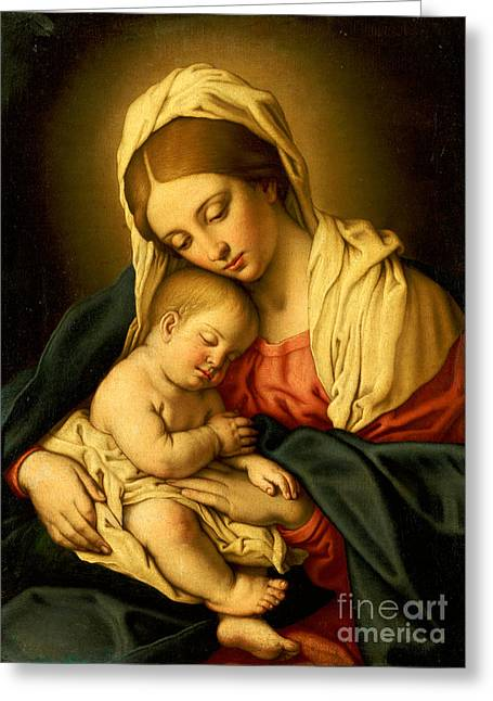 Virgin Mary Greeting Cards - The Madonna and Child Greeting Card by Il Sassoferrato
