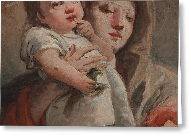 Finch Greeting Cards - The Madonna and Child with a goldfinch Greeting Card by Tiepolo