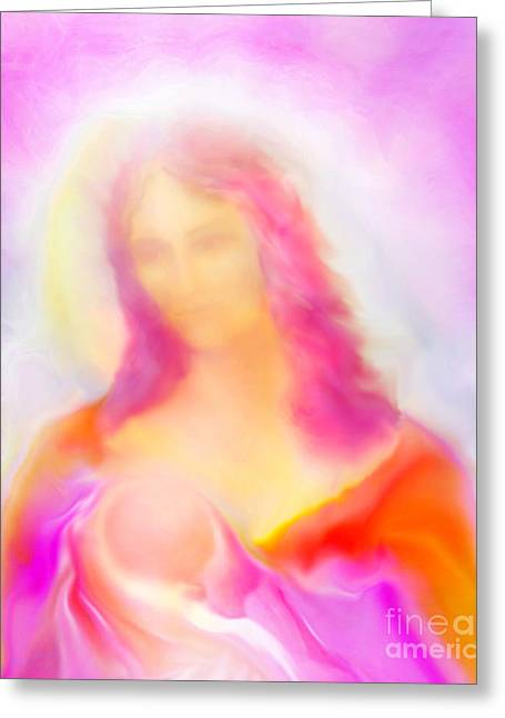 Mother Mary Digital Art Greeting Cards - The Madonna of Compassion Greeting Card by Glenyss Bourne
