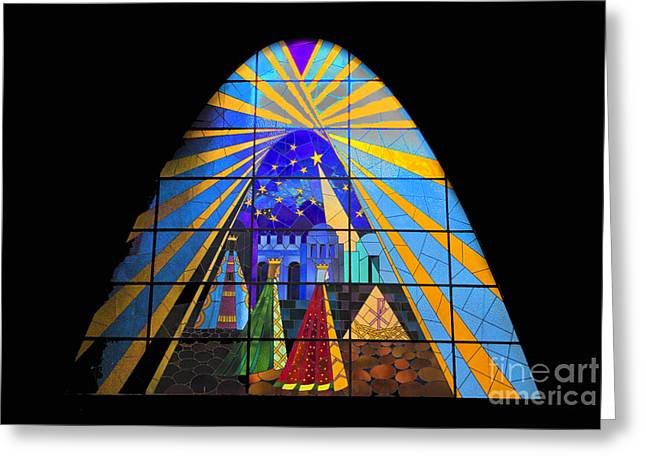 The Magi In Stained Glass - Giron Ecuador Greeting Card by Al Bourassa