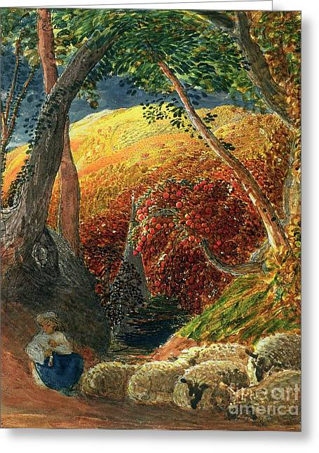Apple Paintings Greeting Cards - The Magic Apple Tree Greeting Card by Samuel Palmer