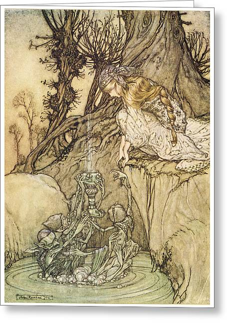 Fantasy Tree Art Greeting Cards - The Magic Cup Greeting Card by Arthur Rackman