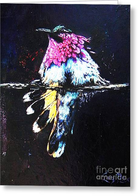 Metal Sheet Greeting Cards - The Magic Of Hummingbirds Greeting Card by Lucy Max