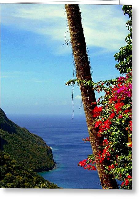 Ocean Landscape Greeting Cards - The Magic of St. Lucia Greeting Card by Karen Wiles
