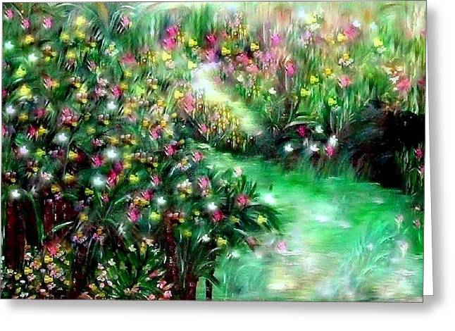 Greeting Cards - The Magical Garden Greeting Card by Sherri  Of Palm Springs