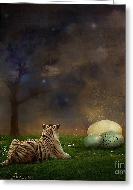 Tigers Digital Greeting Cards - The magical of life Greeting Card by Martine Roch