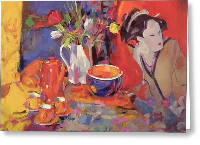 Geisha Greeting Cards - The Magical Table Greeting Card by Peter Graham