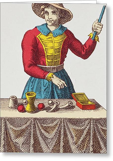 Tricks Greeting Cards - The Magician Tarot Card Greeting Card by French School