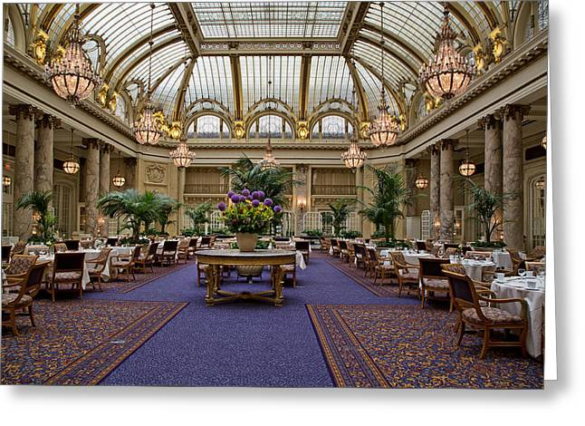 Palace Hotel Greeting Cards - The Magnificent Dining Room of the Palace Hotel Greeting Card by Mountain Dreams