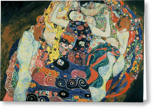 Maidens Greeting Cards - The Maiden Greeting Card by Gustav Klimt