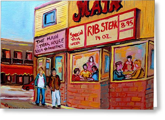 The Main Montreal Greeting Cards - The Main Steakhouse On St. Lawrence Greeting Card by Carole Spandau