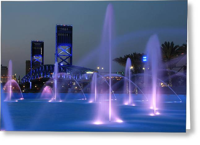 Jacksonville Florida Greeting Cards - The Main Street Bridge Greeting Card by Lori Deiter