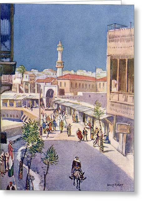 Port Town Drawings Greeting Cards - The Main Street Of Jaffa, Palestine Greeting Card by Ken Welsh