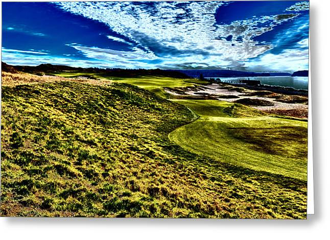 The Majestic Hole #16 At Chambers Bay Greeting Card by David Patterson