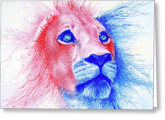 Colorful Animal Art Greeting Cards - The Majestic Majesty  Greeting Card by Fithi Abraham