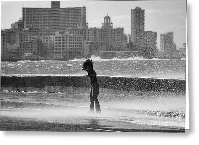 Soaked Greeting Cards - The Malecon - Havana - Cuba Greeting Card by Rod McLean