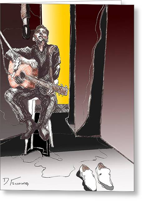 Rockabilly Digital Art Greeting Cards - The Man In Black Greeting Card by David Fossaceca