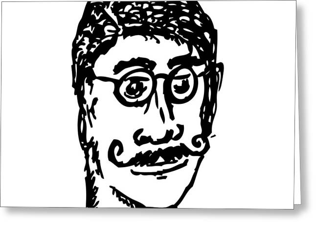 Mustache Greeting Cards - The Man Of Mustache Dreams Greeting Card by Karl Addison