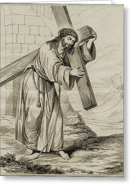 Crucifix Drawings Greeting Cards - The Man Of Sorrows. 19th Century Print Greeting Card by Ken Welsh
