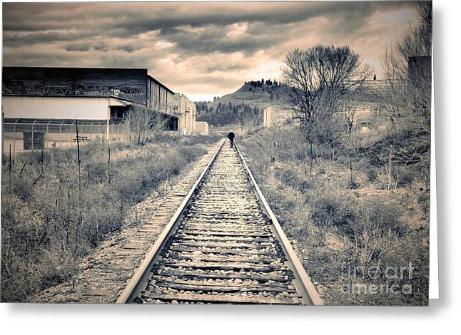 Tara Turner Greeting Cards - The Man on the Tracks Greeting Card by Tara Turner