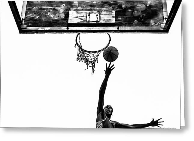 Basketballs Greeting Cards - The Man the Ball and the Basket Greeting Card by Marco Missinato