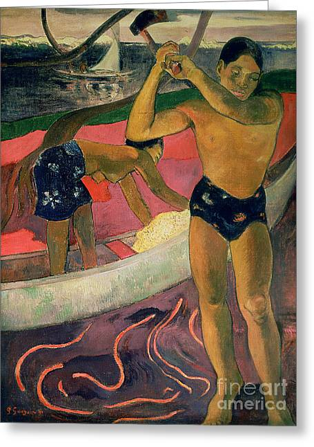 Paul Gauguin Greeting Cards - The Man with an Axe Greeting Card by Paul Gauguin