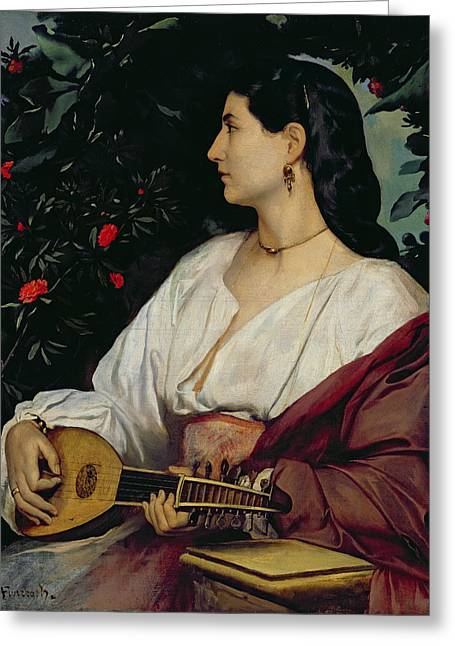Jewellery Greeting Cards - The Mandolin Player Greeting Card by Anselm Feuerbach