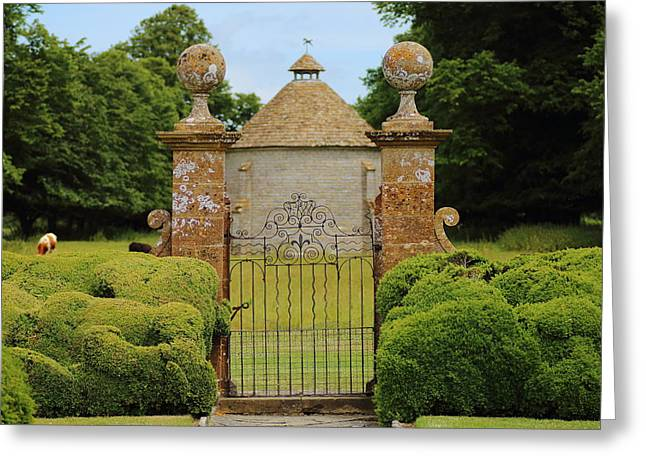 Dovecote Greeting Cards - The Manor Gate Greeting Card by Rumyana Whitcher