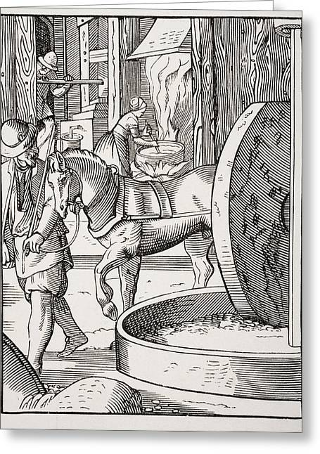 The Manufacture Of Oil. 19th Century Greeting Card by Vintage Design Pics