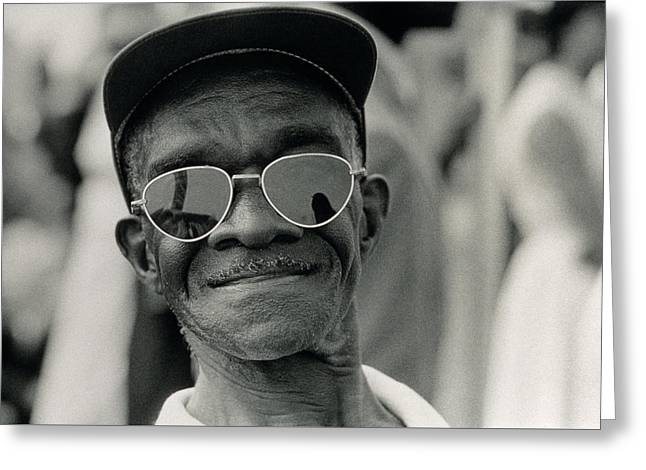 Civil Rights Movement Greeting Cards - The March on Washington  A Smiling Man at Washington Monument Grounds Greeting Card by Nat Herz
