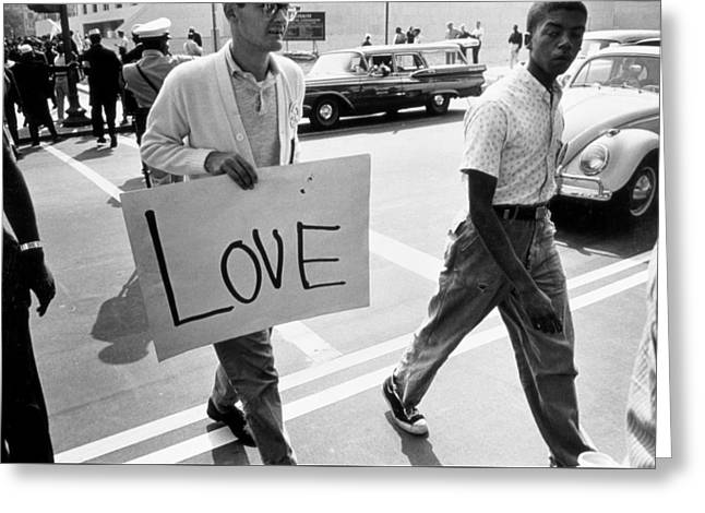 The March On Washington   Love Greeting Card by Nat Herz