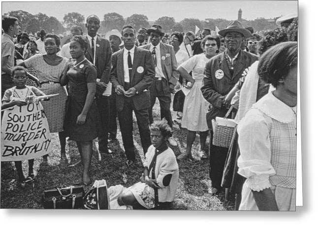 Civil Rights Movement Greeting Cards - The March on Washington  Washington Monument Grounds Greeting Card by Nat Herz