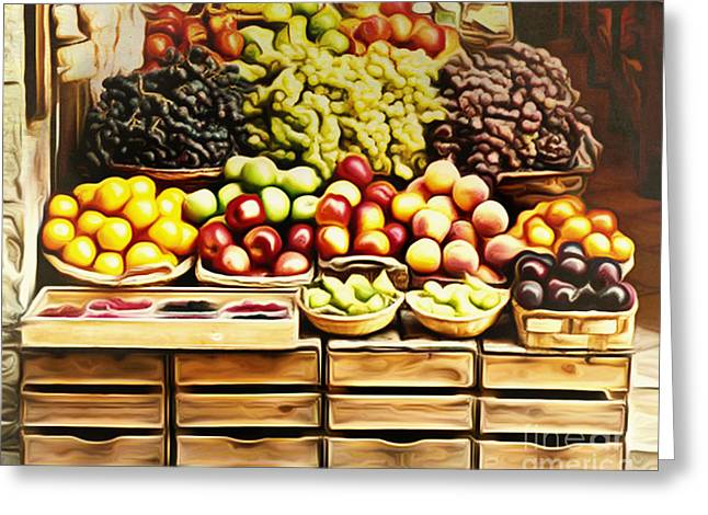 Farm Stand Greeting Cards - The Market Greeting Card by Larry Espinoza