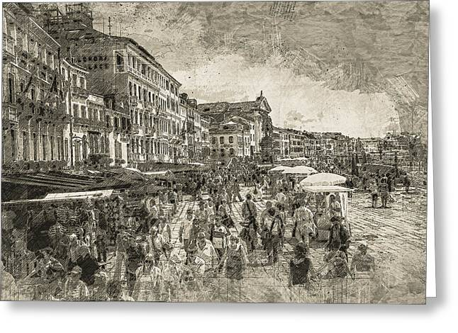 The Market Place Greeting Card by Georgiana Romanovna