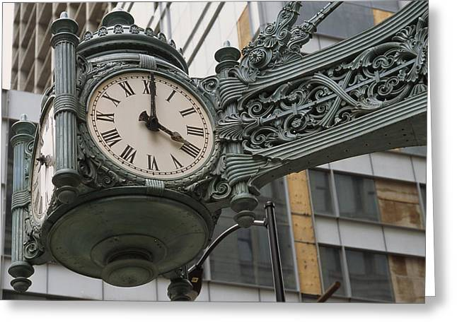 Urban And Suburban Ways Of Life Greeting Cards - The Marshall Field Clock On The Corner Greeting Card by Paul Damien