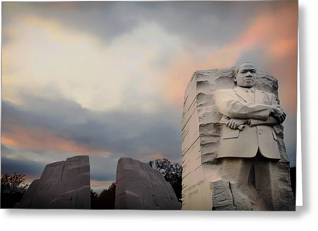 Civil Rights Greeting Cards - The Martin Luther King Jr Memorial At Sunset Greeting Card by Mountain Dreams