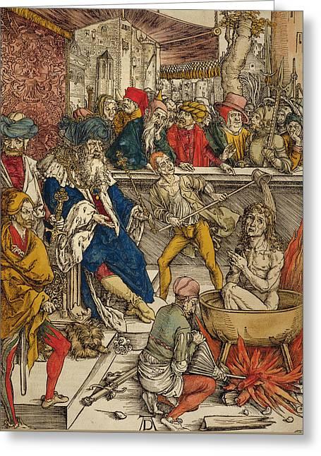 The Martyrdom Of St John Greeting Card by Albrecht Durer or Duerer
