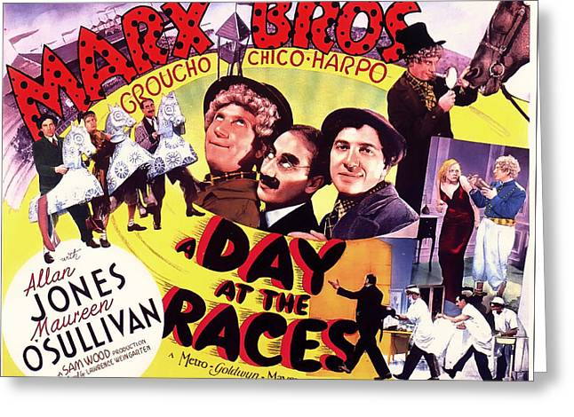 Comedian Greeting Cards - The Marx Bros - A Day At The Races 1927 Greeting Card by Mountain Dreams