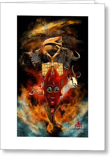 African Heritage Greeting Cards - The Mask Greeting Card by Barbara Hebert