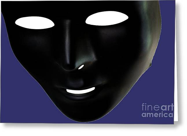 The Mask In Blue Greeting Card by Reynaldo Brigantty