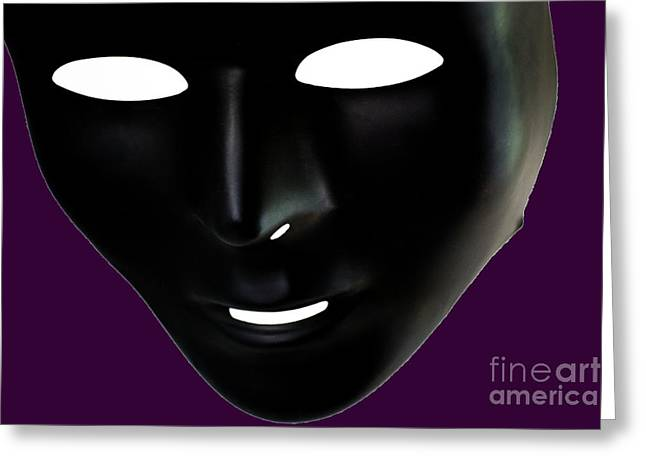The Mask In Purple Greeting Card by Reynaldo Brigantty