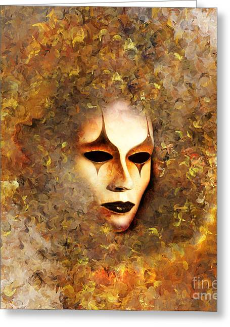 Emotions Mixed Media Greeting Cards - The Mask Greeting Card by Photodream Art