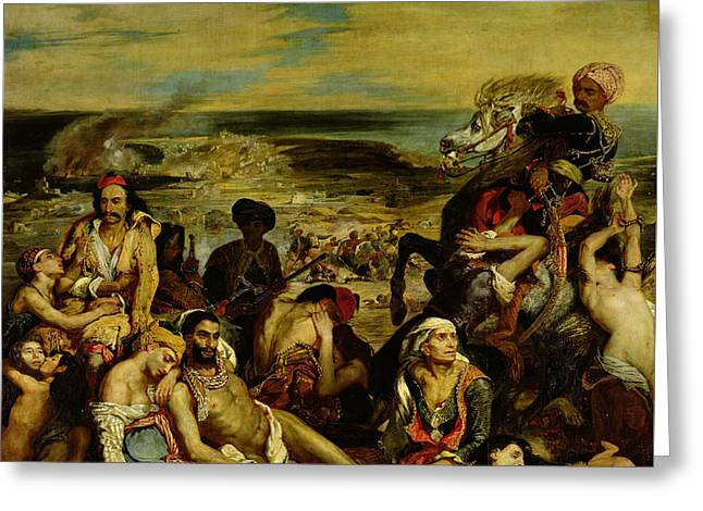 The Massacre At Chios Greeting Card by Eugene Delacroix