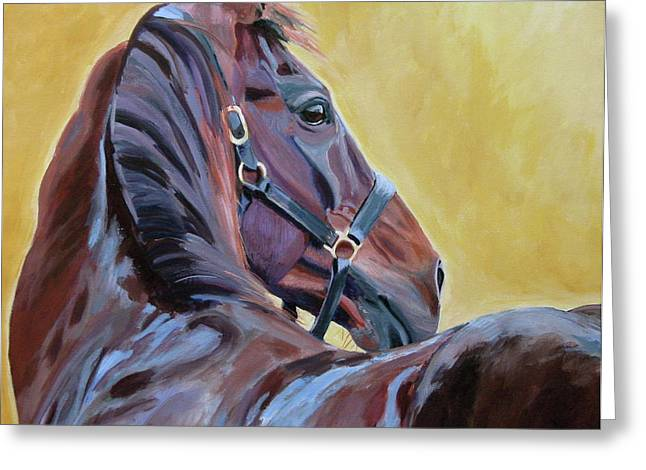 Race Horse Greeting Cards - The Masters Greeting Card by Anne West