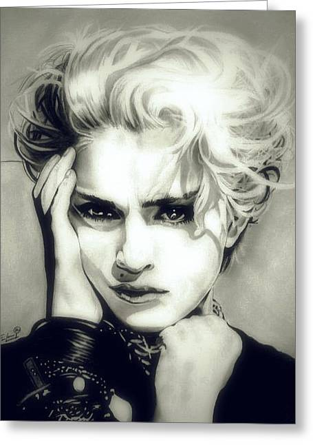 Pop Singer Drawings Greeting Cards - The Material Girl Greeting Card by Fred Larucci