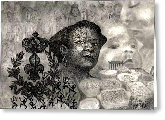 Ink Drawing Greeting Cards - The Matriarch Of The Family Greeting Card by Lydia Watson aka Watsart