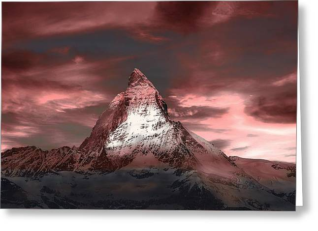Swiss Photographs Greeting Cards - The Matterhorn At Dusk Greeting Card by Klausdie