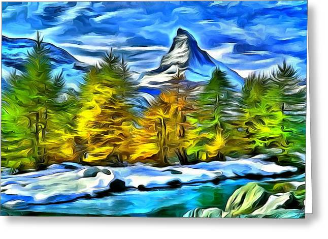 Van Gogh Style Greeting Cards - The Matterhorn Greeting Card by Maciej Froncisz
