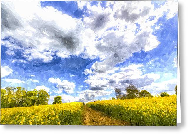 Farmers Field Greeting Cards - The May Farm Art Greeting Card by David Pyatt