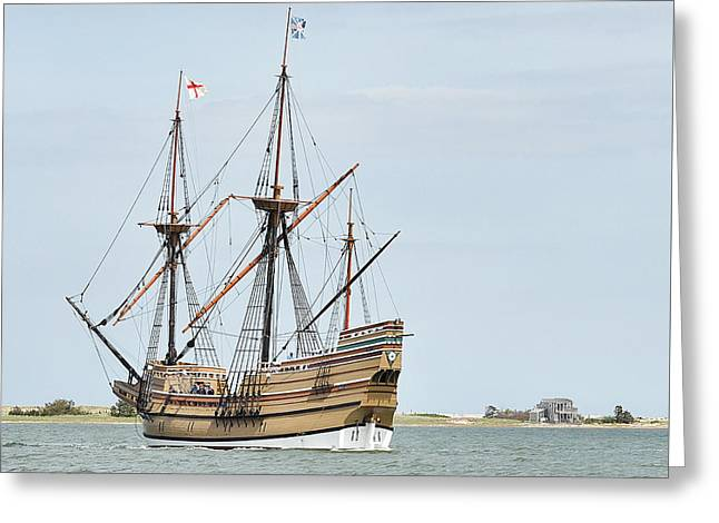 New England Ocean Greeting Cards - The Mayflower II Greeting Card by Joanne Brown